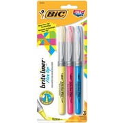 BIC® Brite Liner® Flex Tip™ Highlighters, Assorted, 3/Pack