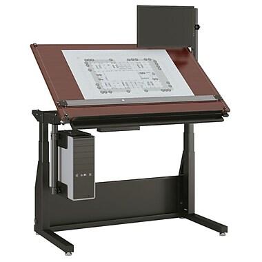 Versa Tables Electric Lift 60''Lx24''D Rectangular Drafting Table, Cherry