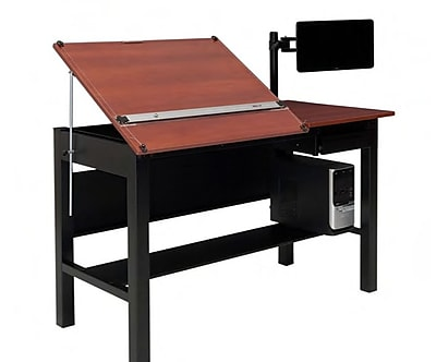 Versa Tables 60''Lx30''D Rectangular Drafting Table, Cherry