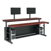 "Versa Tables Computer Table Split Level Adjustable 72"" x 35"" Cherry Dual User"