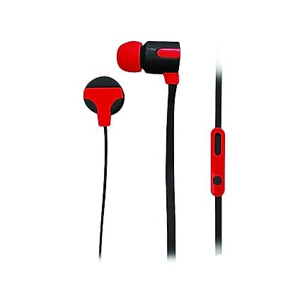 Naxa ne-939-red Stereo Earphones with Mic, Red