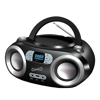Supersonic Portable Bluetooth® Audio System; 100 - 240 V, Black (sc-509bt-bk)