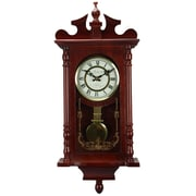"Bedford Mantel Clock with Pendulum and Chime, 25"", Dark Redwood Oak, Wall (bed-1424rw)"