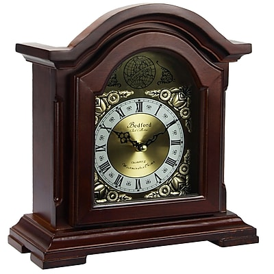 Bedford Mantel Clock with Chimes; Redwood Solid Oak (bed-6003)