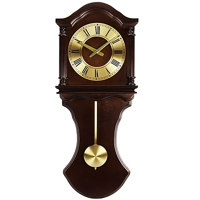 Bedford Mantel Clock with Pendulum and Chime; Chocolate Brown Oak Wooden, Wall (bed-1712)
