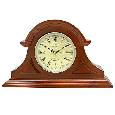 Bedford Mantel Clock with Chimes, Solid Mahogany Cherry Hardwood (bed1439chr)