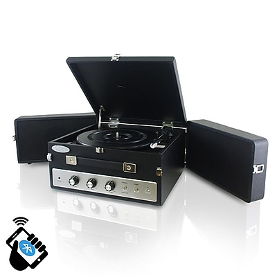 PyleHome Retro Vintage Classic Style Bluetooth Turntable Record Player; 110 V (pltt82btbk)