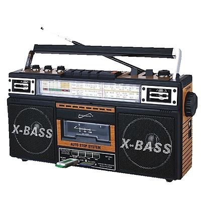 Supersonic sc-3200wd Retro 4 Portable Radio and Cassette Player; Brown