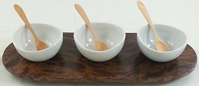 Circa Asia 4 Piece Mango Wood Condiment Tray Set; Brown