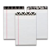 "TOPS Fashion Legal Pad, 5"" x 8"", Perforated, Assorted Black/White Headtapes, White, Narrow Rule, 50 Sheets, 3/Pack"