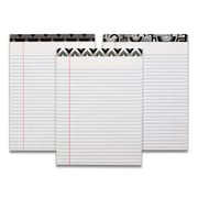 "TOPS Fashion Legal Pad, 8-1/2"" x 11-3/4"", Perforated, Assorted Black/White Headtapes, White, Legal/Wide Rule, 50 Sheets, 3/Pack"