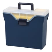 Staples® Letter Size Portable File Box with Organizer Top, Navy (111102)