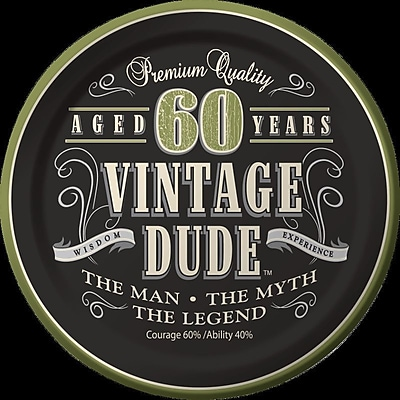 Creative Converting Vintage Dude 60th Birthday Dessert Plates (Set of 8)