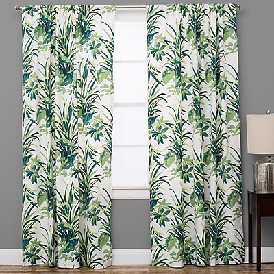 The Pillow Collection Bermuda Nature/Floral Semi-Sheer Rod Pocket Single Curtain Panel