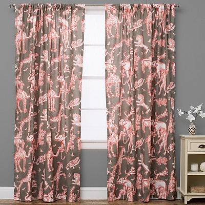 The Pillow Collection Charmed Wildlife Semi-Sheer Rod Pocket Single Curtain Panel; 50'' W x 108'' L
