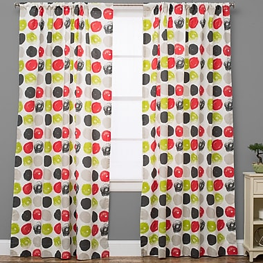 The Pillow Collection Polka dots Semi-Sheer Rod Pocket Single Curtain Panel; 50'' W x 120'' L