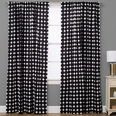 The Pillow Collection Geometric Semi-Sheer Rod Pocket Single Curtain Panel; 50'' W x 72'' L