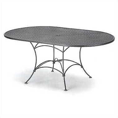 Woodard Mesh Top Set-Up Oval Wrought Iron Dining Table; Chestnut Brown