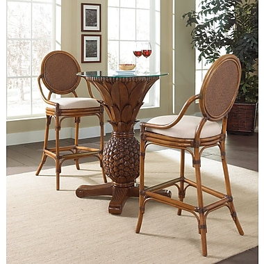 Hospitality Rattan Oyster Bay 3 Piece Pub Table Set; Rave Lemon
