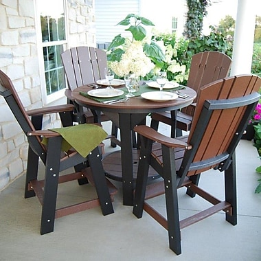 Little Cottage Company 5 Piece Dining Table Set; Weathered Wood/Black