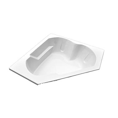 American Acrylic 60'' x 60'' Soaker Arm-Rest Corner Bathtub; Biscuit