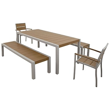 Trex Surf City 5 Piece Bench Dining Set; Textured Silver / Tree House