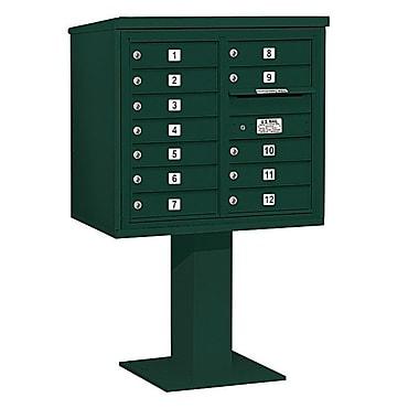 Salsbury Industries 12 Door Front Load 4C Horizontal Cluster Box Unit; Green