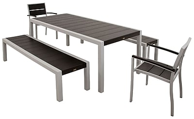 Trex Surf City 5 Piece Bench Dining Set; Textured Silver / Charcoal Black