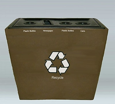 Allied Molded Products St. Louis 4 Stream 48 Gallon Multi Compartment Recycling Bin; Greige