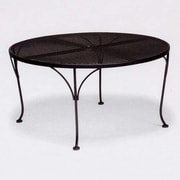 Woodard Mesh Top Round Chat Dining Table; Textured Black