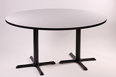 Correll, Inc. High Round Bar and Caf Table w/ 2 Cross Bases and 2 Columns; Yellow