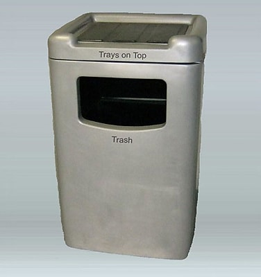 Allied Molded Products Biscayne Food Court 60 Gallon Trash Bin; Peach