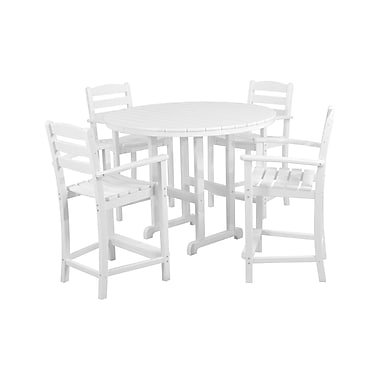 POLYWOOD La Casa Cafe 5 Piece Bar Height Dining Set; White