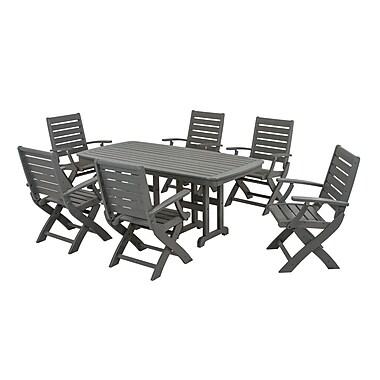 POLYWOOD Signature 7 Piece Dining Set; Slate Grey