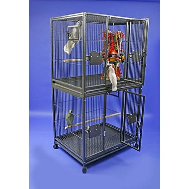 A&E Cage Co. Large Double Bird Cage; Platinum