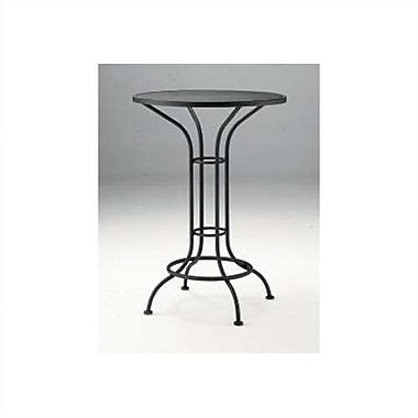 Woodard Bar Height Outdoor Round Mesh Top Wrought Iron Bar Table; Twilight