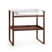 WS Bath Collections Linea 35'' Single Free Standing Bathroom Vanity Set; White / Rust