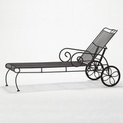 Woodard Cantebury Reclining Chaise Lounge; Textured Black
