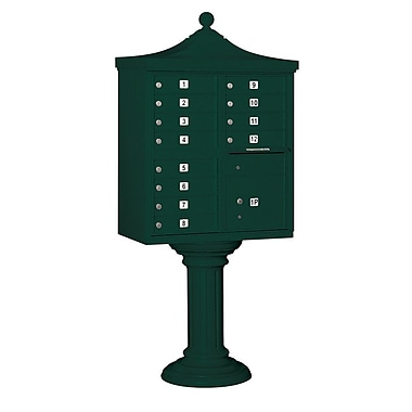 Salsbury Industries Regency 12 Door Rear Load 4C Horizontal Cluster Box Unit w/ 1 Parcel Locker