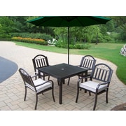 Oakland Living Rochester 5 Piece Dining Set w/ Cushions and Umbrella