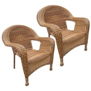 Oakland Living Stacking Patio Dining Chair (Set of 2); Honey