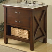 Direct Vanity Sink Xtraordinary Spa 33'' Single Bathroom Vanity Set; Carrera White Marble