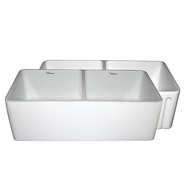 Whitehaus Collection Farmhaus 33'' x 18'' x 10'' Double Bowl Farmhouse Kitchen Sink; White