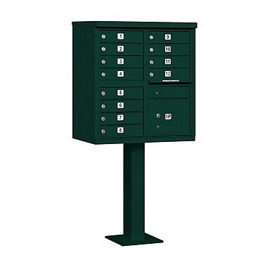 Salsbury Industries 12 Door Front Load 4C Horizontal Cluster Box Unit w/ 1 Parcel Locker; Green
