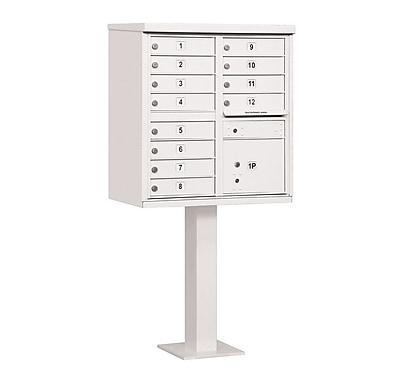 Salsbury Industries 12 Door Front Load 4C Horizontal Cluster Box Unit w/ 1 Parcel Locker; White