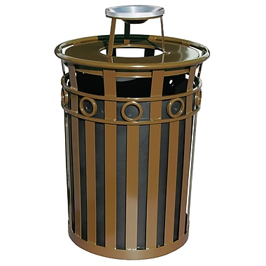 Witt Oakley Series SMB Receptacle 36 Gallon Trash Can; Brown