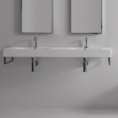 WS Bath Collections Cento Ceramic 56'' Wall Mount Bathroom Sink w/ Overflow