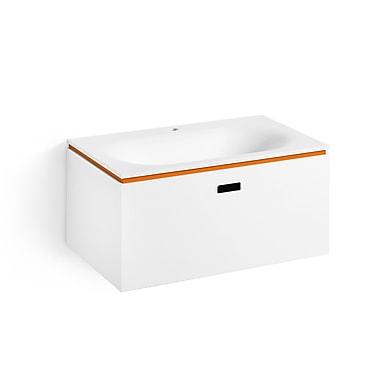WS Bath Collections Linea Ciacole 28'' Single Wall Mounted Bathroom Vanity Set; White / Orange