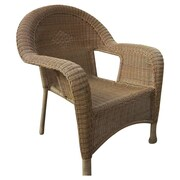 Oakland Living Resin Wicker Arm Chair (Set of 2); Natural