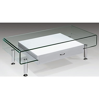 Creative Images International Glass Coffee Table; White
